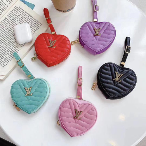 Louis Vuitton Style Luxury Leather Heart Protective Case For Apple Airpods 1 & 2 & Pro - Casememe.com