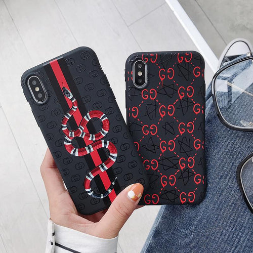 Gucci Style Glossy Print Silicone Snake Designer iPhone Case For iPhone X XS XS Max XR 7 8 Plus - Casememe.com