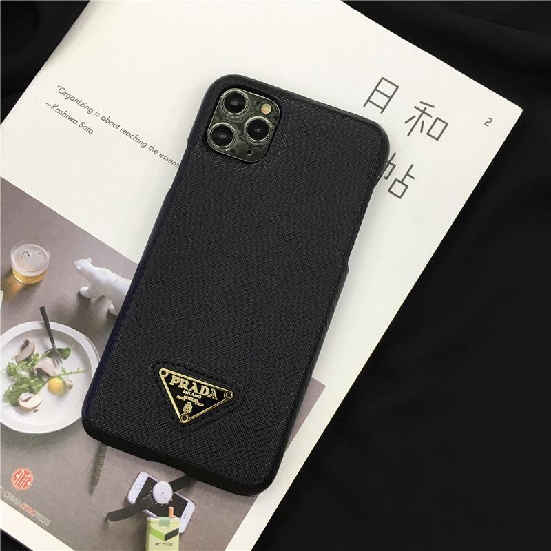 Prada Style Leather Shockproof Protective Designer iPhone Case For iPhone 12 SE 11 Pro Max X XS Max XR 7 8 Plus - Casememe.com