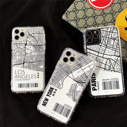 City Map Clear Designer iPhone Case For iPhone SE 11 Pro Max X XS Max XR 7 8 Plus - Casememe.com