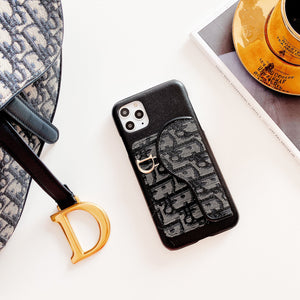 Dior Style Classic Fabric Cardholder Wallet Silicone Shockproof Protective Designer iPhone Case For iPhone 12 SE 11 Pro Max X XS Max XR 7 8 Plus - Casememe.com