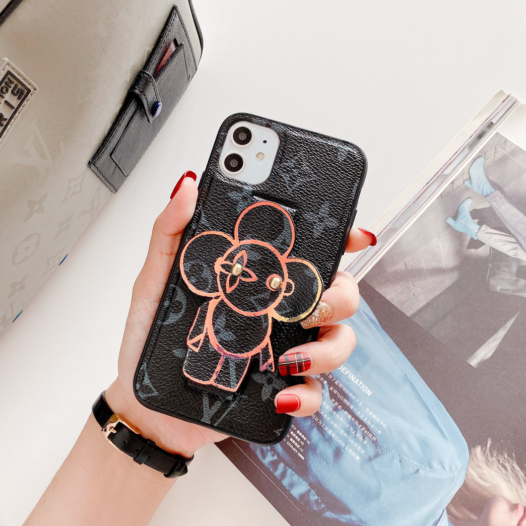 Louis Vuitton Style Luxury Leather Hand Strap Shockproof Protective Designer iPhone Case For iPhone 12 SE 11 Pro Max X XS Max XR 7 8 Plus - Casememe.com