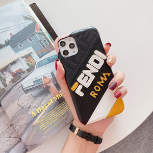 Fendi Style Luxury Leather Shockproof Protective Designer iPhone Case For iPhone SE 11 Pro Max X XS Max XR 7 8 Plus - Casememe.com