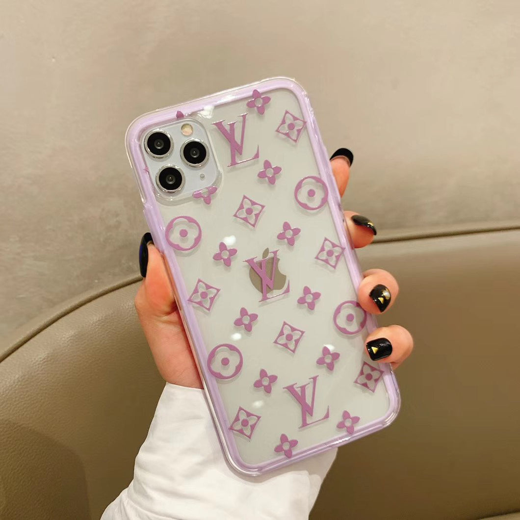 Louis Vuitton Style Clear Tempered Glass Protective Designer iPhone Case For iPhone SE 11 Pro Max X XS Max XR 7 8 Plus - Casememe.com
