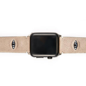 3D Eye Beige Leather Compatible With Apple Watch 38mm 40mm 42mm 44mm Band Strap For iWatch Series 4/3/2/1 - Casememe.com