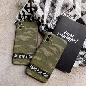 Christian Dior Style Camouflage Shockproof Protective Designer iPhone Case For iPhone SE 11 Pro Max X XS Max XR 7 8 Plus - Casememe.com