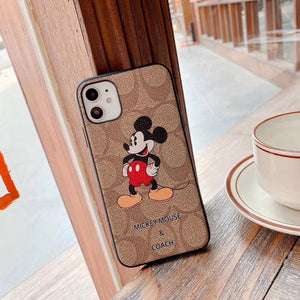 Coach Style Mickey Mouse Luxury Leather Shockproof Protective Designer iPhone Case For iPhone SE 11 Pro Max X XS Max XR 7 8 Plus - Casememe.com