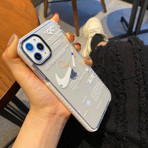 Nike x Off white Style Clear Silicone Bumper  Shockproof Protective Designer iPhone Case For iPhone SE 11 Pro Max X XS Max XR 7 8 Plus - Casememe.com
