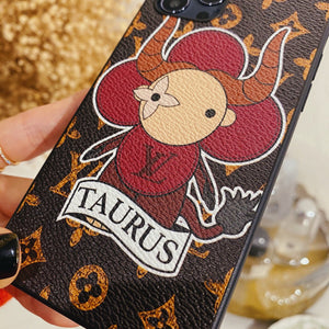 Louis Vuitton Style Taurus Leather Designer iPhone Case For All iPhone Models - Casememe