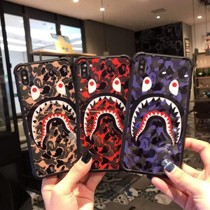 Bape Style Shark Camo Bumper Tempered Glass Designer iPhone Case For iPhone SE 11 Pro Max X XS Max XR 7 8 Plus - Casememe.com