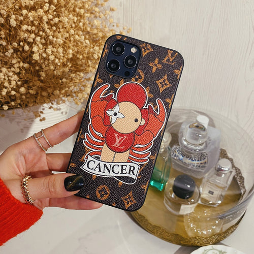 Louis Vuitton Style Cancer Leather Designer iPhone Case For All iPhone Models - Casememe