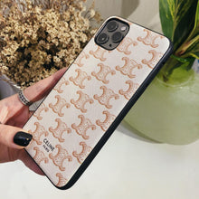 Load image into Gallery viewer, Celine Style Beige Leather Designer iPhone Case For iPhone 12 SE 11 Pro Max X XS Max XR 7 8 Plus - Casememe.com