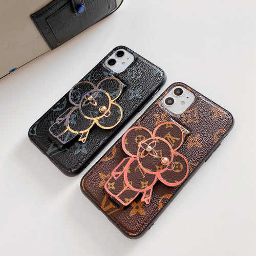 Louis Vuitton Style Luxury Leather Hand Strap Shockproof Protective Designer iPhone Case For iPhone 12 SE 11 Pro Max X XS Max XR 7 8 Plus - Casememe