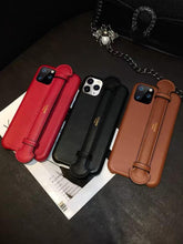 Load image into Gallery viewer, Celine Style Leather Hand Strap Protective Designer iPhone Case For iPhone SE 11 Pro Max X XS Max XR 7 8 Plus - Casememe.com
