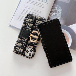 Dior Style Classic Fabric Cardholder Wallet Shockproof Protective Designer iPhone Case For iPhone SE 11 Pro Max X XS Max XR 7 8 Plus - Casememe.com
