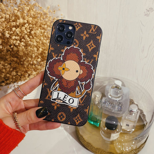 Louis Vuitton Style Leo Leather Designer iPhone Case For All iPhone Models - Casememe