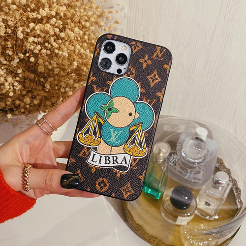 Louis Vuitton Style Libra Leather Designer iPhone Case For All iPhone Models - Casememe
