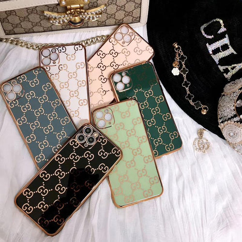 Gucci Style Classic Electroplating Shockproof Protective Designer iPhone Case For iPhone 12 SE 11 Pro Max X XS Max XR 7 8 Plus - Casememe.com
