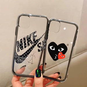 NIKE CDG Style Tempered Glass Shockproof Protective Designer iPhone Case For iPhone SE 11 Pro Max X XS Max XR 7 8 Plus - Casememe.com