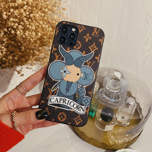 Louis Vuitton Style Capricorn Leather Designer iPhone Case For All iPhone Models - Casememe