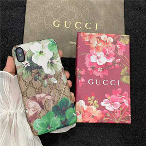 Gucci Style Fleur Leather Designer iPhone Case For iPhone SE 11 Pro Max X XS Max XR 7 8 Plus - Casememe.com