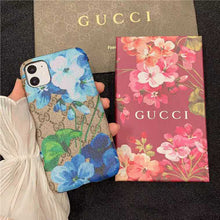 Load image into Gallery viewer, Gucci Style Fleur Leather Designer iPhone Case For iPhone SE 11 Pro Max X XS Max XR 7 8 Plus - Casememe.com