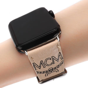 MORE COLORS MCM Style Leather Classic Compatible With Apple Watch 38mm 40mm 42mm 44mm Band Strap For iWatch Series 4/3/2/1 - Casememe.com