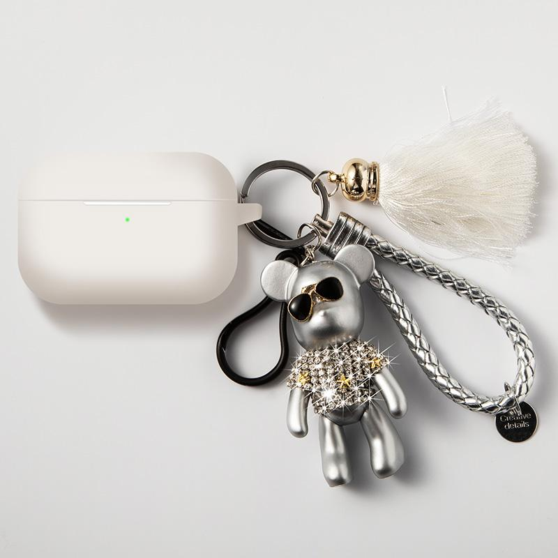 Voilent Bear Keychain Silicone Protective Case For Apple Airpods Pro - Casememe.com