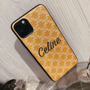 Celine Style Classic Yellow Leather Designer iPhone Case For iPhone 12 SE 11 Pro Max X XS Max XR 7 8 Plus - Casememe.com