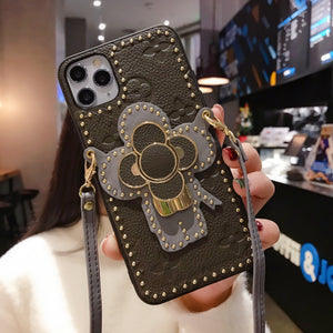 LV Style Takashi Murakami Leather Kickstand Designer iPhone Case For iPhone SE 11 Pro Max X XS Max XR 7 8 Plus - Casememe.com