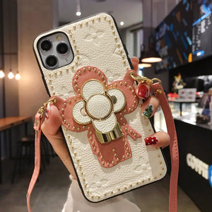 LV Style Takashi Murakami Leather Kickstand Designer iPhone Case For iPhone 12 SE 11 Pro Max X XS Max XR 7 8 Plus - Casememe.com