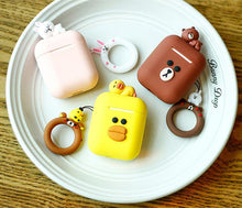 Load image into Gallery viewer, LINE FRIENDS Style Cute AirPods Silicone TPU Protective Case With Ring Holder For Apple Airpods 1 & 2 - Casememe.com