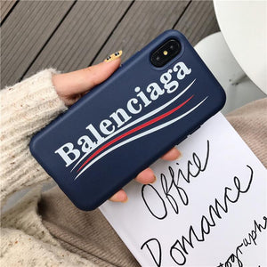 Balenciaga Stylish Sports Soft Silicone Curved Logo iPhone Case For iPhone SE 11 PRO MAX X / XS / XS Max / XR - Casememe.com
