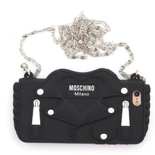 Load image into Gallery viewer, Moschino Style Black Jacket Zipper Purse Silicone Designer iPhone Case For iPhone SE 11 PRO MAX X XS XS Max XR 7 8 Plus - Casememe.com