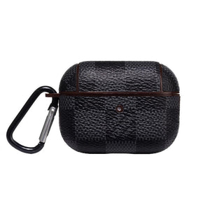 Black Damier Leather Classic Protective Case For Apple Airpods Pro - Casememe.com