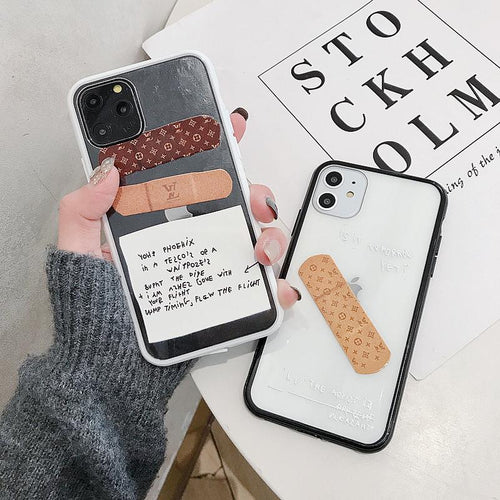Louis Vuitton Style BandAid Clear Silicone Shockproof Protective Designer iPhone Case For iPhone 12 SE 11 Pro Max X XS Max XR 7 8 Plus - Casememe.com