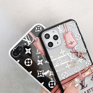 Louis Vuitton Style Tempered Glass Shockproof Protective Designer iPhone Case For iPhone 12 SE 11 Pro Max X XS Max XR 7 8 Plus - Casememe.com