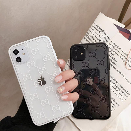GUCCI Style Classic Logo Tempered Glass Shockproof Protective Designer iPhone Case For iPhone 12 SE 11 Pro Max X XS Max XR 7 8 Plus - Casememe.com