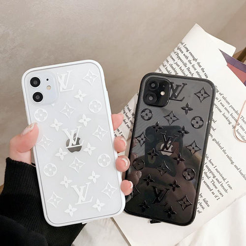Louis Vuitton Style Classic Tempered Glass Shockproof Protective Designer iPhone Case For iPhone 12 SE 11 Pro Max X XS Max XR 7 8 Plus - Casememe.com