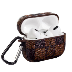 Damier Brown Luxury Leather Protective Case For Apple Airpods Pro - Casememe.com