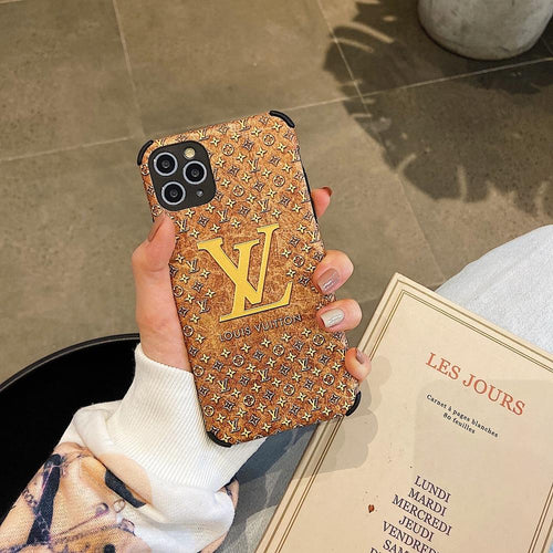 Louis Vuitton Style Corner Protection Leather Shockproof Protective Designer iPhone Case For iPhone SE 11 Pro Max X XS Max XR 7 8 Plus - Casememe.com
