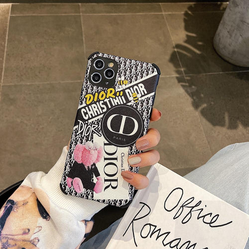 Christian Dior Style Fashion Corner Protection Shockproof Designer iPhone Case For iPhone SE 11 Pro Max X XS Max XR 7 8 Plus - Casememe.com