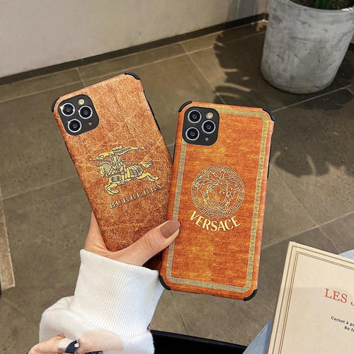 VERSACE Style Corner Protection Leather Designer iPhone Case For iPhone SE 11 Pro Max X XS Max XR 7 8 Plus - Casememe.com