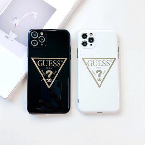 Guess Style Electroplating Glossy TPU Silicone Designer iPhone Case For iPhone 12 SE 11 Pro Max X XS XS Max XR 7 8 Plus - Casememe.com