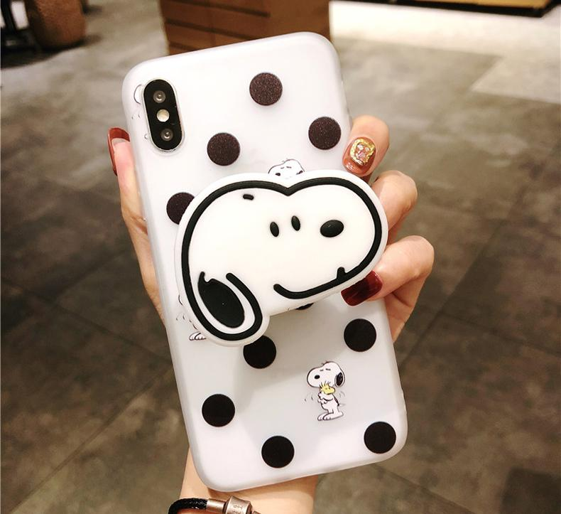 Cute Snoopy 3D Airbag Protective Silicone iPhone Case With Finger Holder  For iPhone X / XS / XS Max / XR