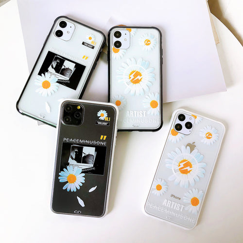 Daisy Clear Tempered Glass Shockproof Protective Designer iPhone Case For iPhone SE 11 Pro Max X XS Max XR 7 8 Plus - Casememe.com