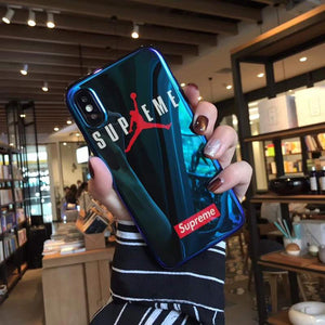 Supreme x Air Jordan Style Blue Light Glossy Silicone Designer iPhone Case For iPhone X XS XS Max XR 7 8 Plus - Casememe.com