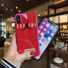Load image into Gallery viewer, Supreme x Air Jordan Style Blue Light Glossy Silicone Designer iPhone Case For iPhone X XS XS Max XR 7 8 Plus - Casememe.com