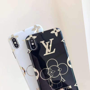 Louis Vuitton Style Takashi Murakami Electroplating Glossy TPU Silicone Designer iPhone Case For iPhone X XS XS Max XR 7 8 Plus - Casememe.com