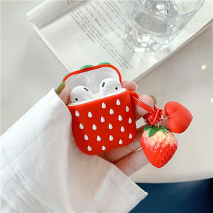 Cute Strawberry Silicone Protective Shockproof Case For Apple Airpods 1 & 2 - Casememe.com